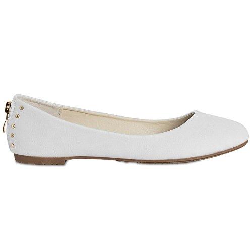 Accessoires amp; Taschen donna CASPAR Bianco Ballerine qTfBwU8xE8