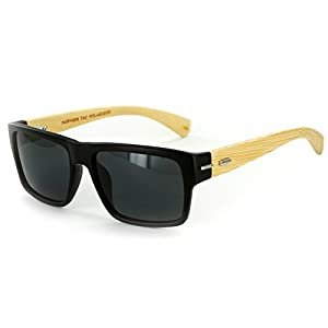 """Zen Sun BP"" Wayfarer Sunglasses, TAC Polarized High Definition Lens, Unisex (Matte Black w/ Smoke)"