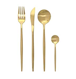 CONCORD 4 Piece Stainless Steel Boutique Flatware Set. Includes Fork, Knife, Spoons. SERVICE FOR 1 (Matte Gold)