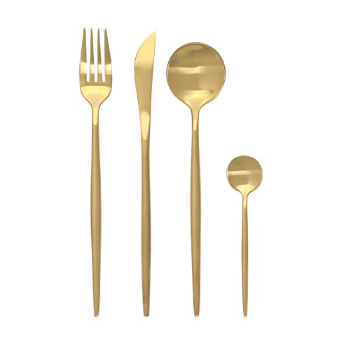 - CONCORD 4 Piece Stainless Steel Boutique Flatware Set. Includes Fork, Knife, Spoons. SERVICE FOR 1 (Matte Gold)