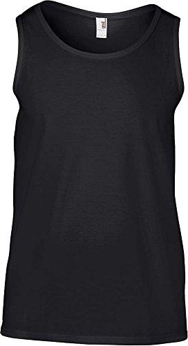 Anvil adultos Tubular Summer Beach Fashion algodón sin mangas, cuello borde Basic Tank negro
