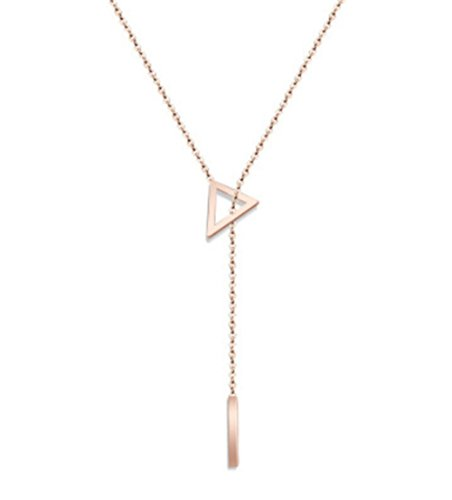 [Women's 18K Rose Gold Plated Stainless steel Pendant Chain Necklace in Chic Y Shaped Design Minimalist Delicate Jewelry (Triangle +] (90s Costumes Couples)