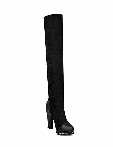 Botas Tacón Eu39 Negro Cn39 Noche De Zapatos Fiesta Black Vestido Encaje us8 Y A Vellón Mujer Uk6 Robusto Xzz Moda La UtBXqww