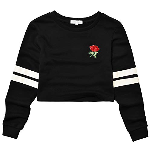 (Perfashion Women's Cropped Tops Black Long Sleeve Rose Embroidery Stripe Shirts Pullover Loose Sweatshirts)