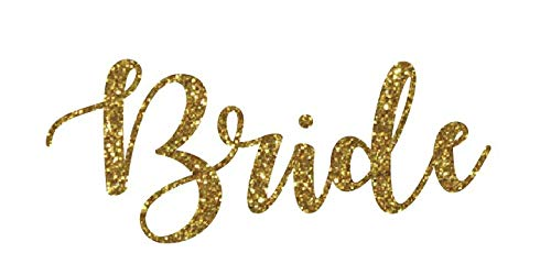 Wedding Iron On Transfers, Bride Iron on, Bridesmaid Iron on, Bride Tribe Iron on, Maid of Honor Iron on Bridal Party Iron on(Gold Glitter, Bride)