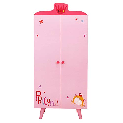 labebe ❤[ Clearance-$9 Wood Wardrobe Closet, Pink Wardrobe Closet Organizer with 5 Separated Shelves, Big Enough for Girl! Easy to Assemble Wood Wardrobe Storage, Baby Wardrobe Organizer Girl