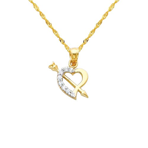 14k Two Tone Gold Cupid Arrow CZ Heart Pendant with 1.2mm Singapore Chain Necklace - 24