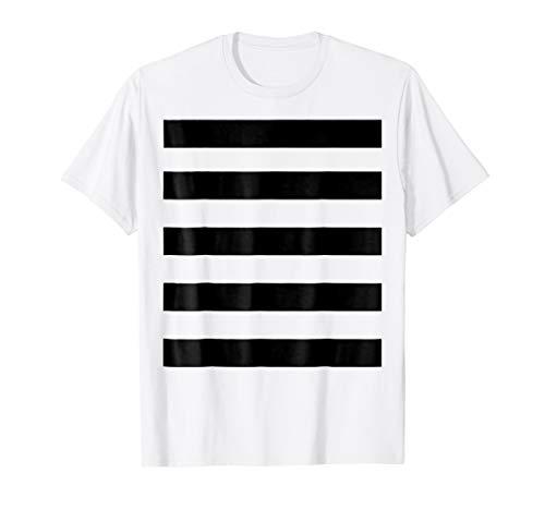 Burglar Bandit Costume Shirt Black White Wide Stripe Pattern]()