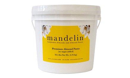 Mandelin Premium Almond Paste: No Sugar Added, 66% Almonds, 34% Maltitol (10.5 lb)