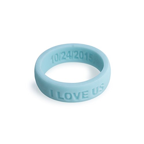 Aroband Silicone Ring Premium Personalized Custom Silicone Wedding Rings for Woman (Baby Blue, 6) by Aroband