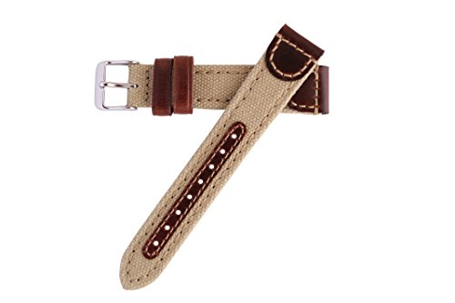 18mm Khaki Genuine Oil Tan Leather & Canvas Hadley Roma Watch Band Strap MS868