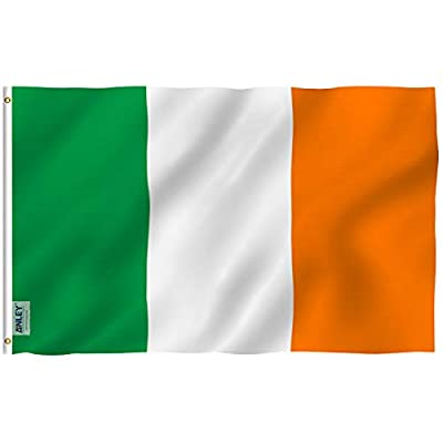 Anley [Fly Breeze 3x5 Foot Ireland Flag - Vivid Color and UV Fade Resistant - Canvas Header and Double Stitched - Irish National Flags Polyester with Brass Grommets 3 X 5 Ft