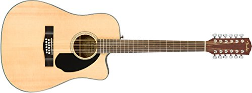 12 Pickup String Guitar (Fender CD-60SCE Right Handed 12 String Acoustic-Electric Guitar - Dreadnaught Body - Natural)