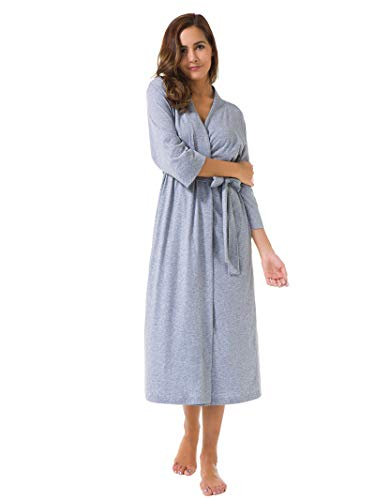 SIORO Women's Kimono Robes Cotton Lightweight Robe Long Knit Bathrobe Soft Nightgowns Sleepwear V-Neck Ladies Nightwear, Gray, M - Long Lightweight 100% Cotton