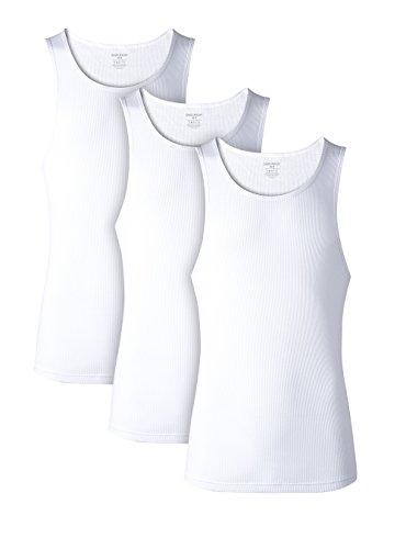 Pack Cotton Rib Tank Top A-Shirts Sleeveless Workout Undershirts(White,L) ()