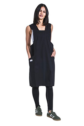 USKEES Lightweight Cross Back Apron - Black Japanese-style No-tie Unisex by USKEES
