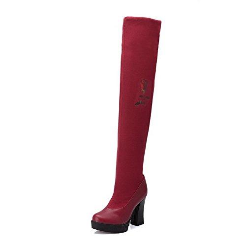 AllhqFashion Mujeres Tacón ancho Estampado Sin cordones Puntera Redonda Botas Rojo
