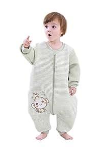 BabyFat Sacos de Dormir/Pijama para Bebé Niño Unisex Otoño/Invierno 2.5 Tog - Mono - Verde Label 80(0-1T)