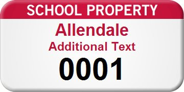 School Property Custom, FoilGuard™ 100% Aluminum Tags - with 3M 320 Adhesive, 100 Labels / pack