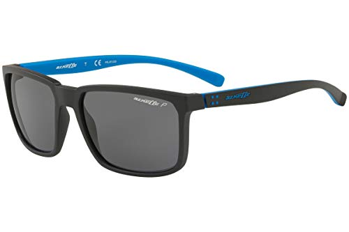 Arnette Men's AN4251 Stripe Rectangular Sunglasses, Matte Black /Polarized Grey, 58 ()