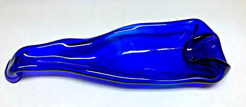 Novelty Melted Wine Bottle Spoon Rest Candy Dish Cigar Ashtray Condiment Dish Cobalt Blue