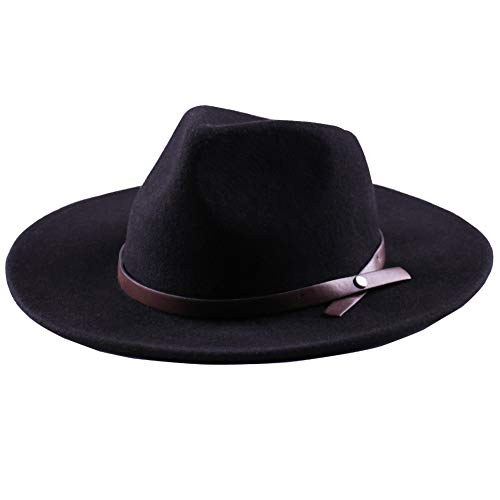 Western Cowboy Hat-Wool Fedora Felt Hats Men Women Crushable Wide Brim Trilby (M(21 7/8-22 1/4inches), Black)