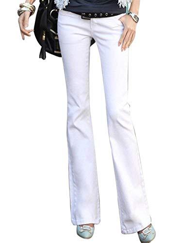 Cintura Blanc Fit Con Mezclilla Casual Alta Botón Colores Pantalones Stretch Vaqueros Moda Flare Sólidos Las De Bolsillos Slim Mujeres Estiramiento wBnx0HgqPp
