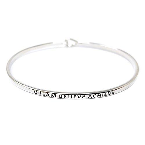 by you Inspirational Dream Believe Achieve Message Engraved Thin Cuff Bangle Hook Bracelet (Dream Believe Achieve-Silver, Brass)