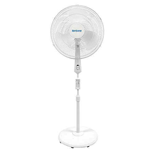 (Hurricane Stand Fan - 18 Inch | Supreme Series | Pedestal Fan with Remote Control, 3 Speed Settings, Adjustable Height 41 Inches to 55 Inches - ETL Listed, White)