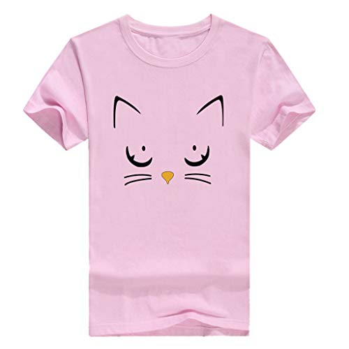 Womens Summer Short Sleeve Casual O-Neck Cute Cat Print Tops Tee Shirts Blouse - Winter Liner Ply