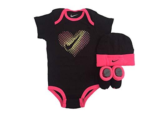 NIKE Jordan Jumpman 3 Piece Infant Set (Black(igspn0473-3939)/Pink/Yellow, 6-12 Months)