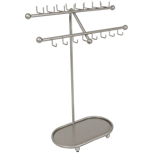 Designers Impressions JR21-SN Silver Satin Nickel Tree Organizer Free Standing Necklace Holder & Jewelry Display Rack with Tray