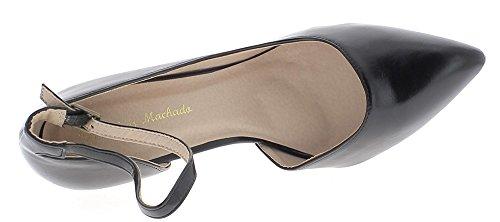 ChaussMoi Zapatos de Gran Tamaño Negro Tacones Finos de Cuero 11,5 cm Brillante con Brida