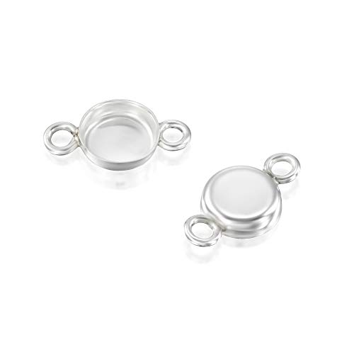 - 6 Pcs 6mm Round Setting with 2 Loops 925 Sterling Silver Bezel Cup Findings for Pendants Bracelets Earrings
