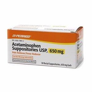 Perrigo Acetaminophen Suppositories USP, 650 mg Pain Reliever/Fever Reducer, 50 ea
