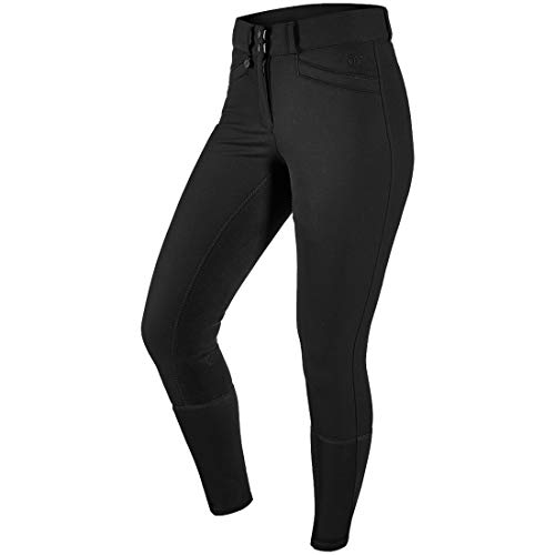Ovation 467847 Women's Celebrity Slim Secret EuroWeave DX Front Zip Full Seat Breeches, Black, Size: 34 Regular ()