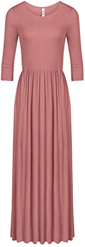Simlu Women's Long Rayon Maxi Dress, Scoop Neck and Empire Elastic Waist Rose X-Large