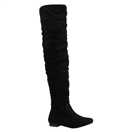 Stiefelparadies Damen Stiefel Overknees mit Blockabsatz Gefüttert Flandell Schwarz Brito