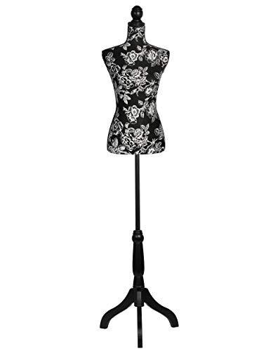 Female Dress Form Mannequin Adjustable Height Black Tripod Stand Woman Body Torso Clothing Display - Black -