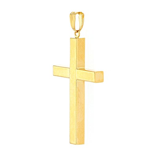 14k Yellow Gold Simple Religious Cross Pendant with Cuban Chain Necklace, 24'' by JewelryAmerica (Image #1)