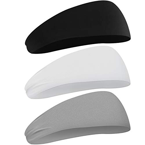 Noorlee Mens Headband, 3 Pack Guys Sweatband for Men Women Unisex with Moisture Wicking Sports Headband for Running, Yoga, Basketball, Working Out, Performance Stretch Workout Sweatband