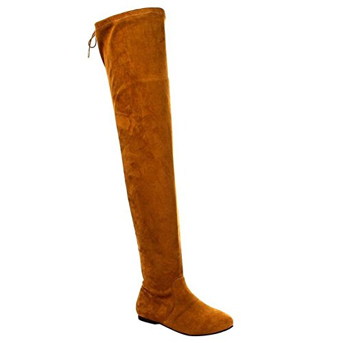 Nature Breeze Women's Stretchy Thigh High Boot Camel 8.5
