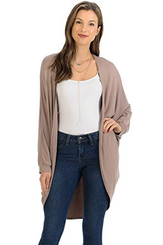 iconic luxe Women's Jersey Batwing Sleeve Cardigan Large ()