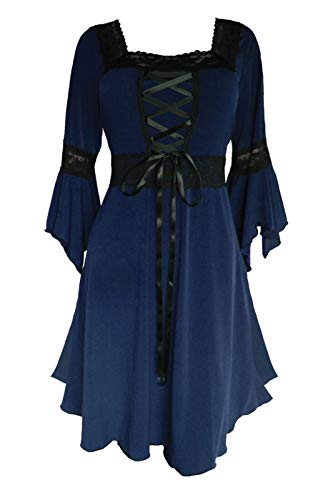 Dare to Wear Renaissance Corset Dress: Victorian Gothic Boho Witchy Women's Gown for Everyday Halloween Cosplay Festivals, Midnight L