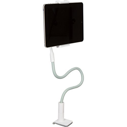 Clamp Mount Leather Tablet Stand for iPad and iPhone - 1 Meter Tall Adjustable Arm 360° Rotating Gooseneck Swivel Universal Lazy Holder for Bed or Office