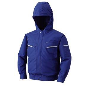 空調服 フード付綿ポリ混紡 長袖ワークブルゾン リチウムバッテリーセット BK-500FC04S6 ブルー 4L ds-1674719 B01JAKZARS