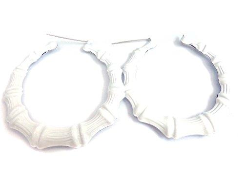 Bamboo Hoop Earrings White Hoops 3.5 inch Hoop Bamboo Divas Diggables