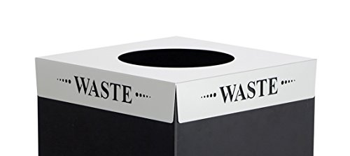 (Safco Products 2990WA Square-Fecta Recycling Trash Can Lid, (for use with Public Square Base sold separately), Silver)
