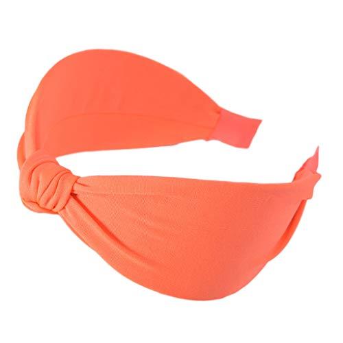 Kimnny Hair Hoop, Minimalist Women Girl Fluorescent Solid Color Headband Handmade Twist Bowknot Wide Hair Hoop Night Party Styling Bright Headwear Orange]()