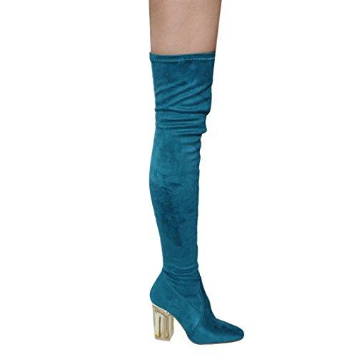 Cape Robbin Fay-2 Overknee Stretch Glasabsatz Oberschenkel Hohe Stiefel Pfauenblau